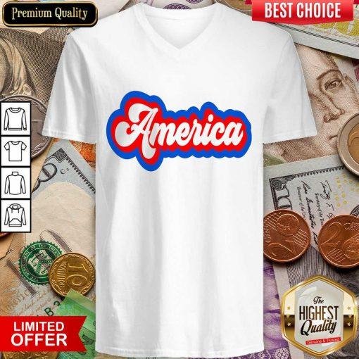 Funny America Retro V-neck