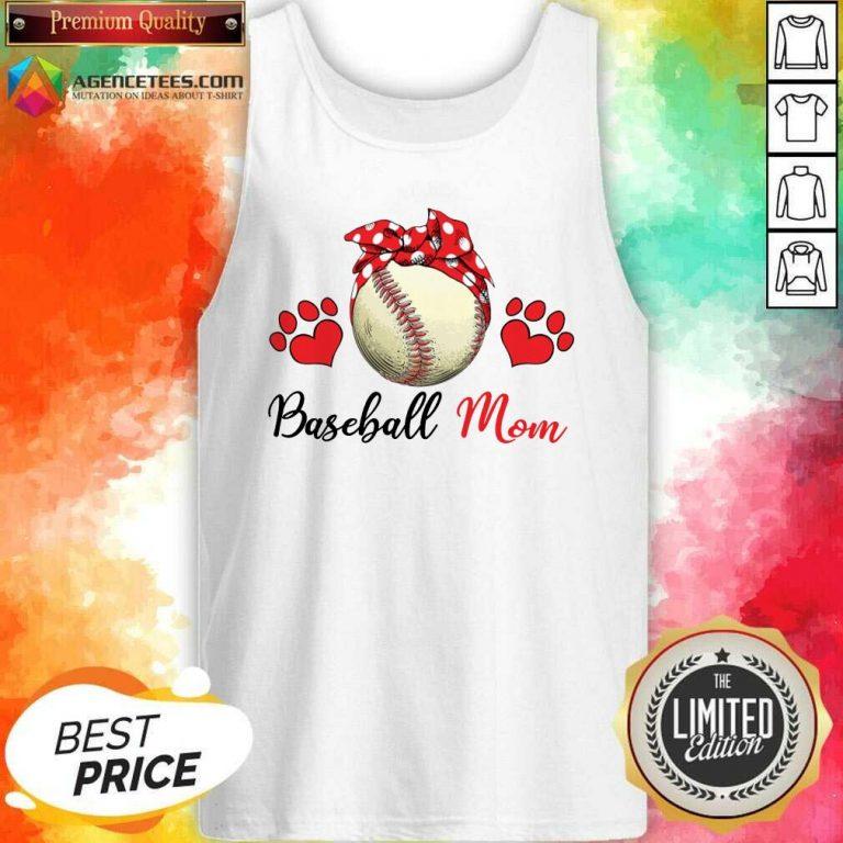 Top Polka Dot Red Baseball Love Mother For Baseball Lover Tank Top