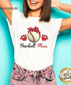 Top Polka Dot Red Baseball Love Mother For Baseball Lover V-neck