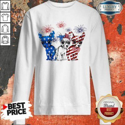 I Love Chihuahua American Flag Sweatshirt