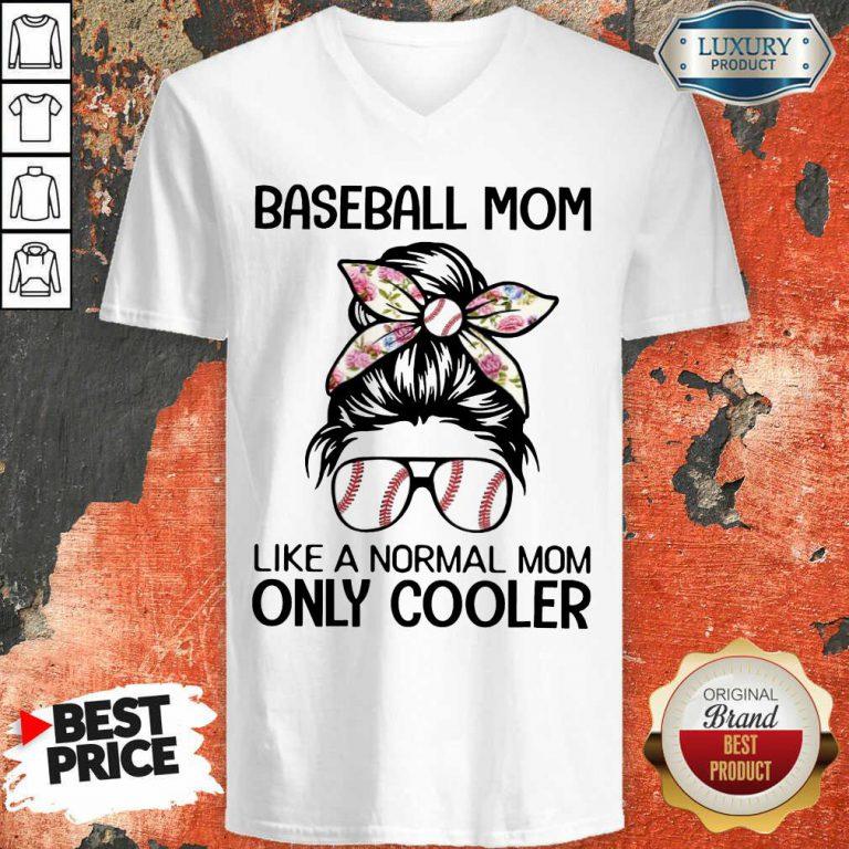 Bun Hair Baseball Mom Only Cooler V-neck