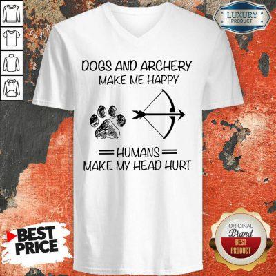 Dog And Archery Humans V-neck