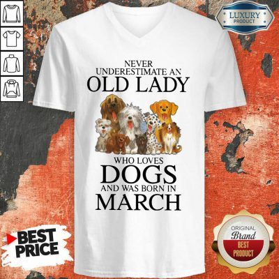 Old Lady Who Love Dog In March V-neck