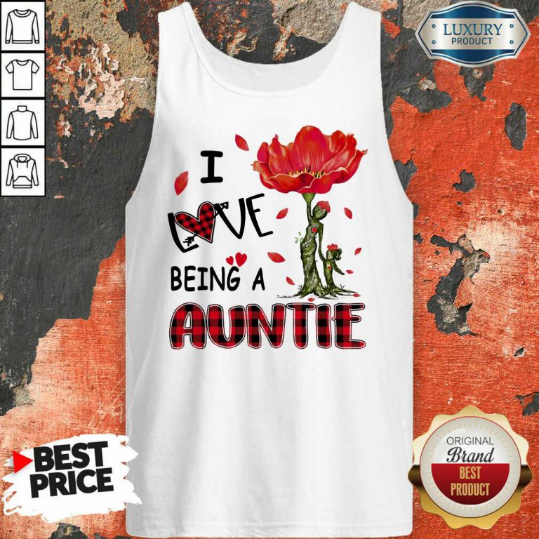 Red Flower I Love Being An Auntie Tank Top