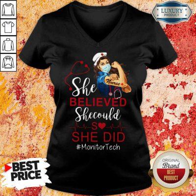 Strong Girl She Believed Monitor Tech V-neck