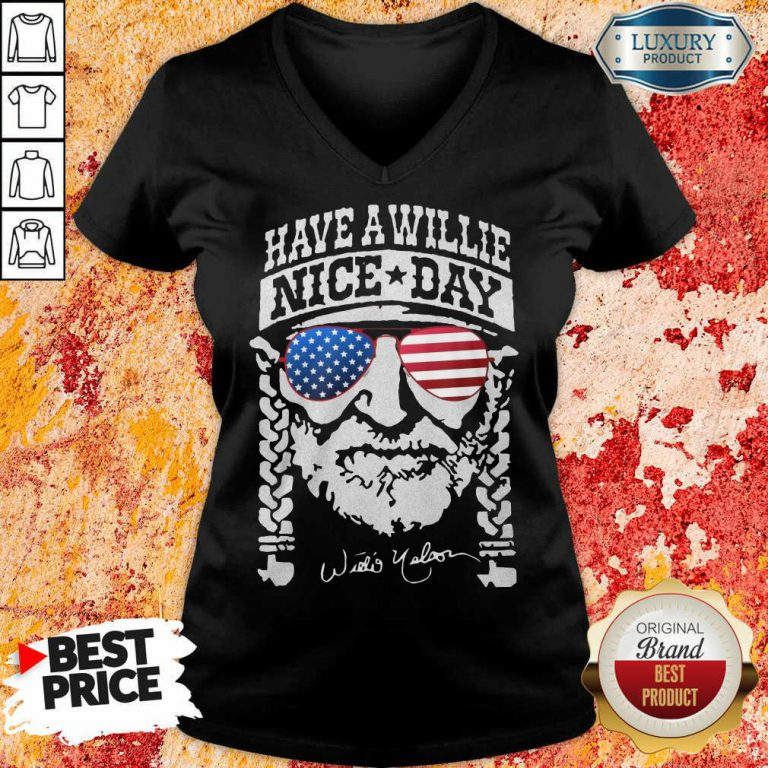 Willie Nelson Have A Willie Nice Day American Flag V-neck